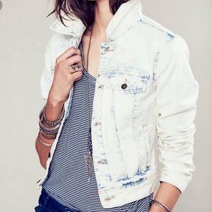 Free People bleach-washed/distressed  denim jacket